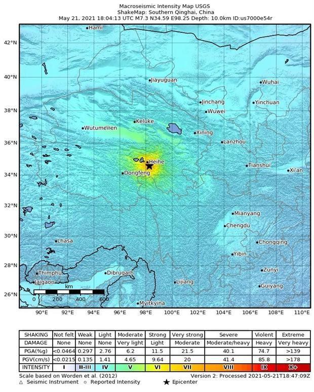 Un mapa de sacudidas distribuido por el Servicio Geológico de los Estados Unidos (USGS) muestra la ubicación de un terremoto de magnitud 7.4 que sacudió el sur de la provincia de Qinghai, China, 21 de mayo de 2021. No hay informes de daños o víctimas.