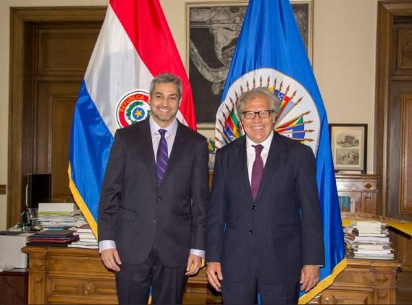 Almagro recibe al presidente electo de Paraguay en la OEA