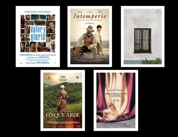 Combo de los carteles de los films nominados a mejor pelicula en la 34 edición de los Premios Goya cuya gala se celebrará el próximo 25 de enero en Málaga: ''Dolor y Gloria'' (i), ''Intemperie'', ''La trinchera infinita'', ''Lo que arde'' y ''Mientras dure la guerra''.