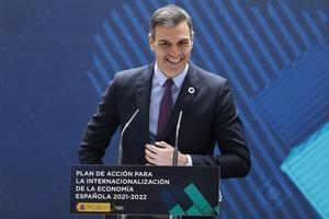 El presidente del Gobierno, Pedro Sánchez, durante su intervención en la presentación del plan de internacionalización de la economía española, dotado con más de 4.500 millones de euros, que sitúa a Latinoamérica como región prioritaria de proyectos e inversiones.