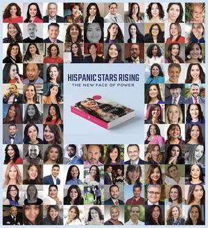 Imagen cedida hoy por la fundación We Are All Human (WAAH) donde se aprecia la portada del libro 'Hispanic Stars Rising' rodeada por fotos de famosos hispanos en Estados Unidos'.