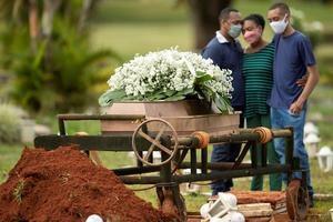 Un grupo de personas asiste al entierro de un ser querido víctima de covid-19, en el cementerio Campo da Esperança, en la ciudad de Brasilia (Brasil).