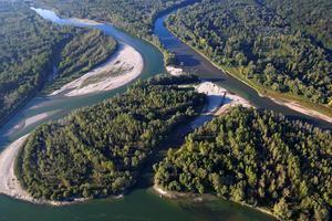 Vista desde el cielo de la zona fluvial Mura-Drava-Danubio, reconocida el día 15 de septiembre por la Unesco como reserva de la biosfera.