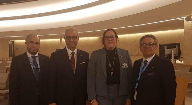 Delegación dominicana en Ginebra, encabezada por la ministra de la Mujer, Janet Camilo.