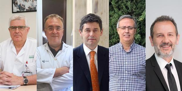 n la imagen (de izquierda a derecha) los investigadores Antoni Torres, Jesús Bermejo, Jose María Eiros, Salvador Resino y Ferrán Barbé, integrantes del equipo que ha desarrollado la investigación. Imagen cedida por el Instituto de Salud Carlos III del Ministerio de Ciencia e Innovación.