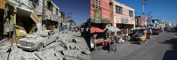 Combo fotográfico del 13 de enero de 2010 de escombros en el centro de la ciudad y foto del 9 de enero de 2020 en el centro de Puerto Príncipe. El devastador terremoto de Haití de 2010 cumple diez años este domingo, mientras el país caribeño, envuelto en una espiral de subdesarrollo, hambre, violencia y continuas crisis políticas, todavía no ha terminado de levantar cabeza.