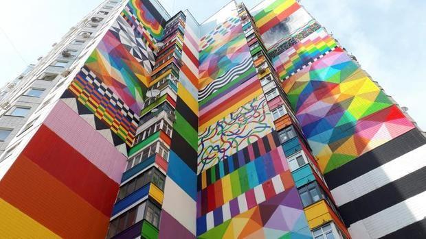 """Grafiteros de todo el mundo """"despiertan"""" una ciudad dormitorio en Moscú"""