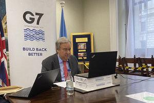 ONU El Secretario General, António Guterres, en un encuentro virtual con la prensa durante su participación en la Cumbre del G7 en el Reino Unido