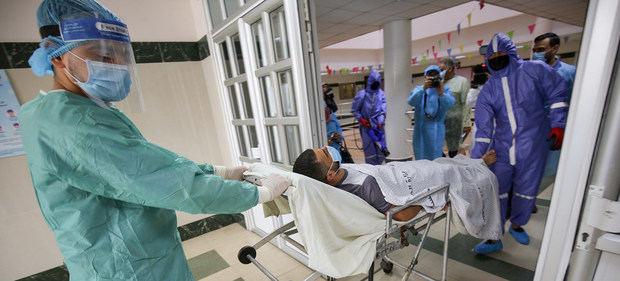 Un hospital de Gaza durante el período de máxima actividad de la pandemia COVID-19.