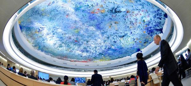 Vista panorámica de una reunión del Consejo de Derechos Humanos de la ONU en Ginebra.