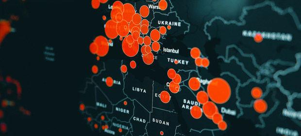 Mapa del coronavirus elaborado en marzo de 2020 en la Universisdad John Hopkins.