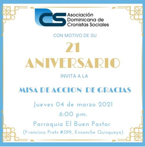 Misa 21 aniversario de Asociación Dominicana de Cronistas Sociales