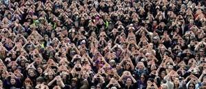 Manifestantes en el Día de la Mujer.