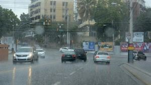 Lluvia en Santo Domingo.