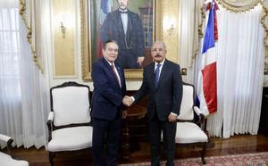 El nuevo presidente de Panamá  Laurentino Cortizo y el presidente Danilo Medina.