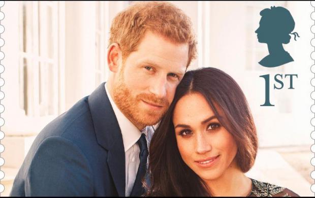 Sello postal de la pareja real