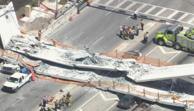 Reportan fallecidos tras derrumbe de puente en Miami