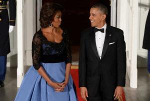 Los esposos Obama en etiqueta