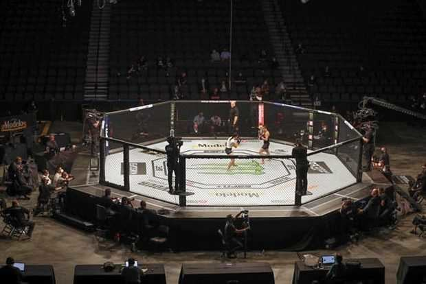 UFC estrena una era de deportes con mascarilla y sin público