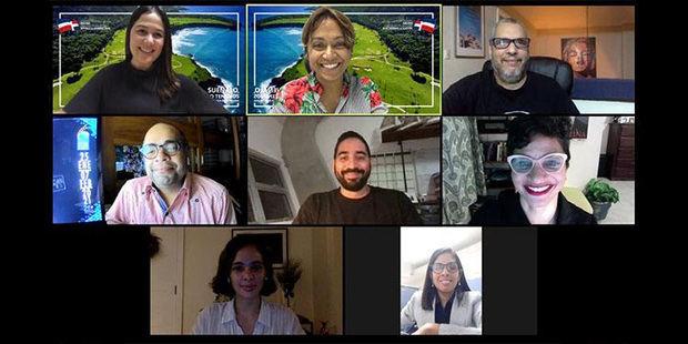 Jennifer Lara, Taína Rodríguez, Luis Rafael González, Omar De La Cruz, Rafael Muñoz, Leticia Tonos, María Valentina Avellaneda y Elvira Lora durante la videoconferencia.