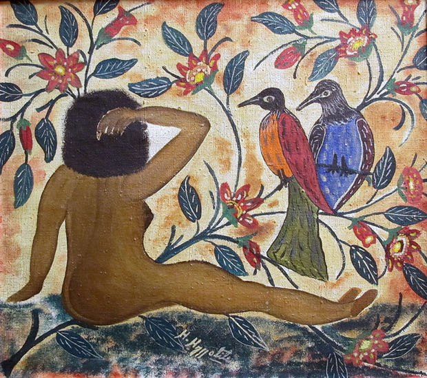Hector Hyppolite. Femme nue avec oiseaux, 1946, óleo sobre lienzo, 42 x 48 cm. Colección del fideicomiso de Betty e Isaac Rudman.