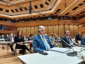 El presidente del Senado de la República, Eduardo Estrella al participar en la Quinta Conferencia Mundial de Presidentes de Parlamentos.